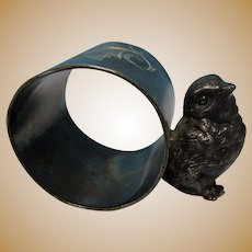 Figural Etched Bird Silverplate Napkin Ring