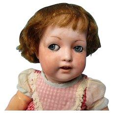 "Antique 13"" German K & W Flirty Eye Toddler Doll"