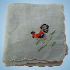 Vintage Small Child Doll Embroidered Rooster Hanky