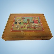 Vintage Boxed 65 Pc Wood House Puzzle in Box
