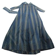 Early Navy Blue Calico Doll Wrapper Dress Free S/H