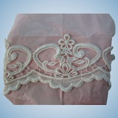 "3"" White Scalloped Applique Trim For Doll Dresses"