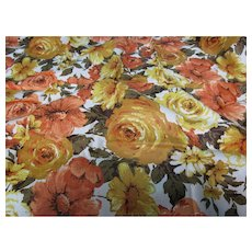 Copper Golden Yellow Floral Chintz Fabric