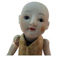 "4 1/2"" Glass Eye Bisque Head Japanese Baby Doll TLC"