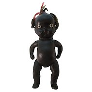 """Vintage 4"""" Black All Bisque Doll Japan"""