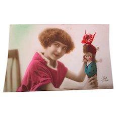 1924 Kewpie Googly  Doll Little Girl PC Used