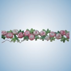 "Vintage 1/2"" Pink Roses Garland Trim 4 Yards"