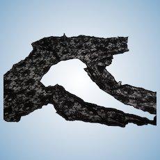 Vintage Large Black Floral  Lace Collar TLC