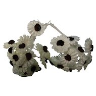 White Fabric Daisy Brown Flocked Centers Doll Hats
