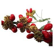 5 Tiny Golden Pine Cones & Berries For Doll Hats