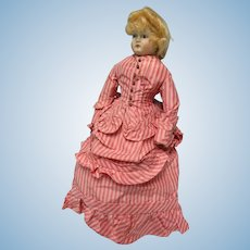 Pink Strip Silk Taffeta French Fashion Doll Gown