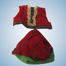 Vintage 2 Piece Red Wool Vest & Hat Doll Set