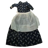 Early China Doll Navy Calico Dress + Apron