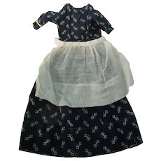 Early China Doll Navy Calico Dress + Apron