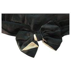 Edwardian Black/ Cream Silk Satin Bow Collar