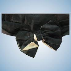 Edwardian Black/ Cream Silk Satin Bow Collar