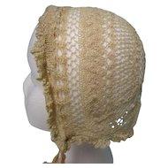 Early Victorian Crochet Silk Bonnet