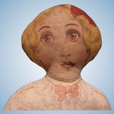 "Antique 1900's  22"" Printed Face Cloth Doll"