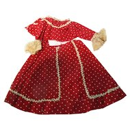 Vintage Red Dot Small 2 Pc Doll Dress