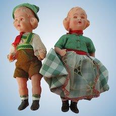 "Vintage Pair Austrian Celluloid 5 1/2"" Dolls A/O"