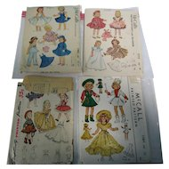 4 - 1950's McCall Simplicity Doll Pattern Lot 1
