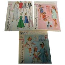 Lot 4 - 3 Simplicity Tammy Doll Patterns