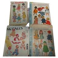 4 Vintage Toddler Doll Clothing Patterns