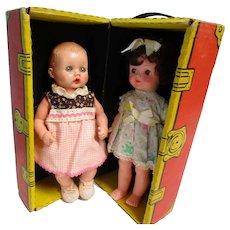 """Vintage 12"""" Cardboard Trunk w 2 11"""" Dolls"""