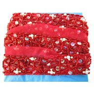 "1"" W Red Glass beaded Pearls Sequined Trim 56"" L"