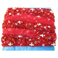 """1"""" W Red Glass beaded Pearls Sequined Trim 56"""" L"""