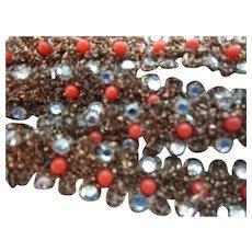 "5/8"" Bronze Coral Beaded Glass Rhinestone Trim"