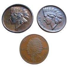 3 - 1915 & 1924 Souvenir Pennies Penny Coins