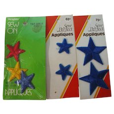 3 Unused Packs of Embroidered Star Appliques