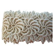 "Vintage 2 1/4"" Embroidered Swirl Lace Trim"