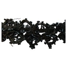 "1 Yd Victorian Black Scalloped  Beaded Trim 1"" W"