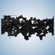 "1 Yd Victorian Black Scalloped  Beaded Trim 1"" W"