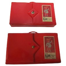 2 Plastic Red Patent Kim Wardrobe Doll Cases 1970