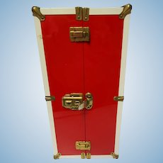 "Vintage 1960's  19"" Tall  Large Red & White Metal Doll Trunk"