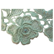 Vintage Mint Embroidered Roses Rhinestone Trim 1 Yard