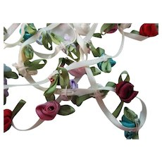 "57 - 1/2"" Multi Colored Satin Ribbon Rose Bud Garland Trim"