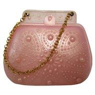 Vintage Small Plastic Pink Doll Purse VGC