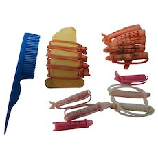 Vintage Mixed Lot of 16 Doll Curlers & Comb