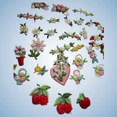 33 Vintage Tiny Floral Appliques Doll Dresses
