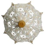 """Vintage 7 1/2"""""""" Cream Lace Doll Umbrella Parasol"""