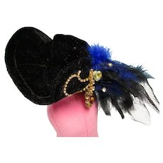 Vintage Black Velvet Fashion Doll Hat
