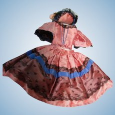 Vintage 3 Pc Silk French Fashion Doll Dress