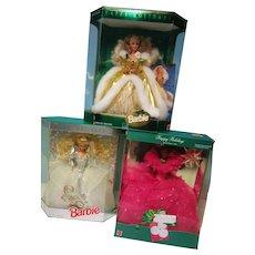 Vintage Lot of 3 Holiday Barbie Dolls NRFB