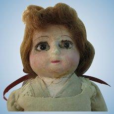 """Vintage 14"""" Old Paper Mache Doll TLC"""