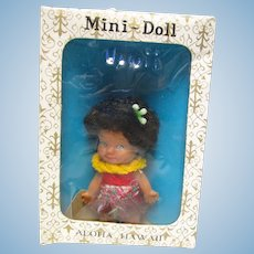 "Vintage 1960's 3 1/2"" Hawaiian Doll MIB"