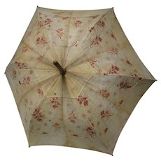 "Victorian 30 1/2"" Red Cotton Print Parasol"